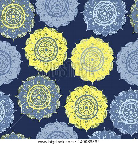 Seamless abstract hand-drawn oriental doddle pattern yellow and blue color. Seamless pattern can be used for pattern fills web page backgroundsurface textures. floral background