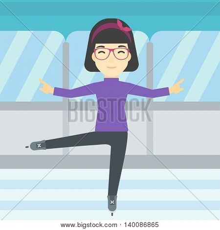 An asian female figure skater performing on indoor ice skating rink. Professional young female figure skater dancing. Vector flat design illustration. Square layout.