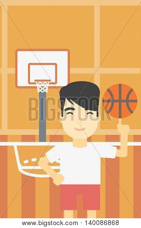 An asian sportsman spinning basketball ball on his finger. Young professional basketball player standing on the basketball court. Vector flat design illustration. Vertical layout.