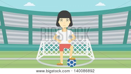 An asian sportswoman standing with football ball on the football stadium. Young professional football player with a soccer ball on the field. Vector flat design illustration. Horizontal layout.
