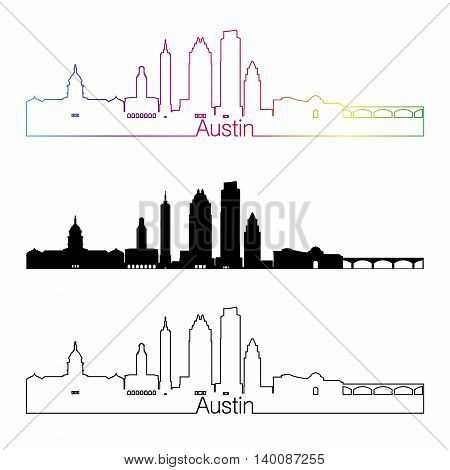 Austin skyline linear style with rainbow in editable vector file