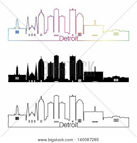 Detroit skyline linear style with rainbow in editable vector file