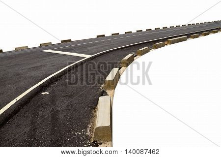 Abstract black asphalt road transport and curve with concrete box along beside the way isolated on white background