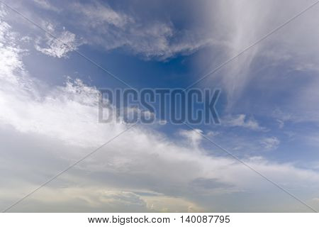 Clear blue sky with white cloud on a summer shiny day