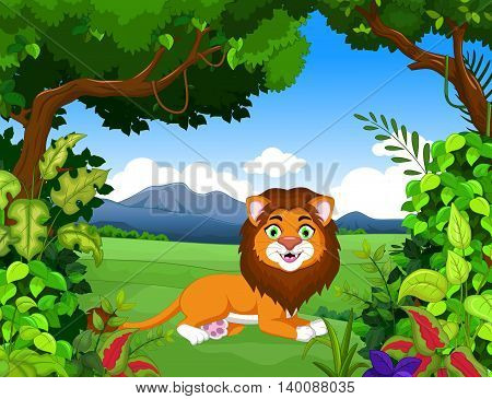 funny lion cartoon with forest landscape background