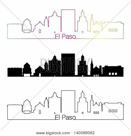 El Paso skyline linear style with rainbow in editable vector file
