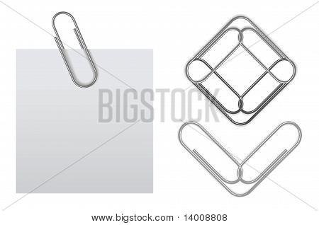 Nota adhesiva Vector con sujetapapeles