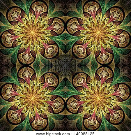 Multicolored seamless flower pattern in stained-glass window style. You can use it for invitations notebook covers phone cases postcards cards wallpapers and so on. Artwork for creative design.