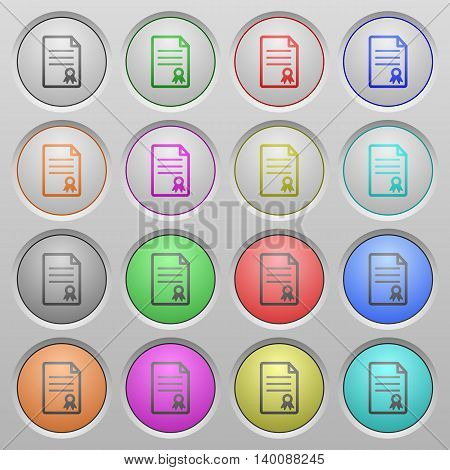 Set of Certificate document plastic sunk spherical buttons.