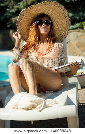 Sexy Pretty Woman At Swimming Pool