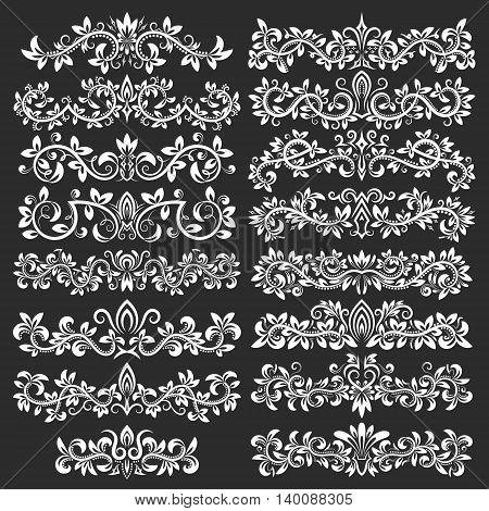 Design ornamental elements and vintage headline decorations big set. Floral tattoo in vintage baroque style. Vintage page ornate decorations.