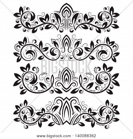 Design ornamental elements and vintage headline decorations set. Floral tattoo in vintage baroque style. Vintage page ornate decorations.