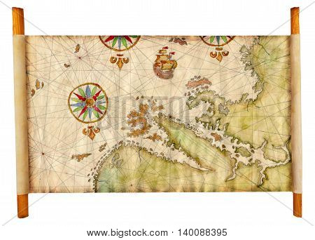 Ancient pirate map with fantasy lands, sailing ship and compass