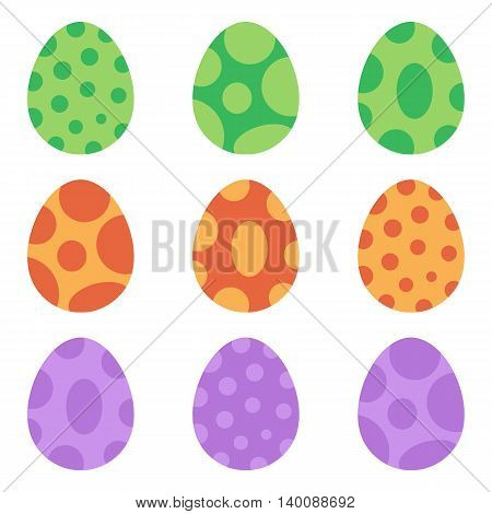 Cute colorful cartoon style spotted dinosaur eggs set, collection isolated on white background.