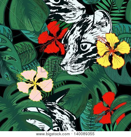 Tropical flowers and leaves with leopard head seamless pattern.  Hibiscus and exotic palm leaves. Floral trendy background.