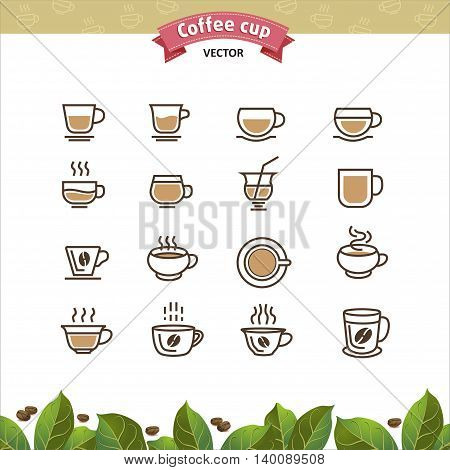 Coffee mugs and cups brown outline icons set. Vector Illustration