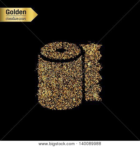 Gold glitter vector icon of toilet isolated on background. Art creative concept illustration for web, glow light confetti, bright sequins, sparkle tinsel, abstract bling, shimmer dust, foil.