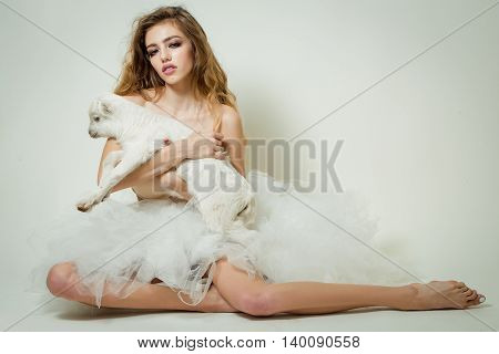 Beautiful Woman With Goat