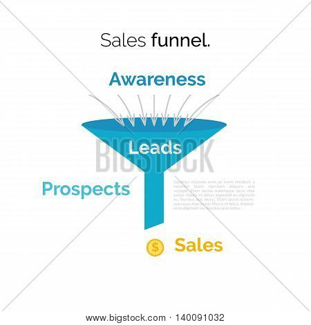 Business infographics with stages of a Sales Funnel. Vector illustration