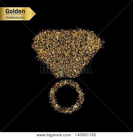 Gold glitter vector icon of ring isolated on background. Art creative concept illustration for web, glow light confetti, bright sequins, sparkle tinsel, abstract bling, shimmer dust, foil.