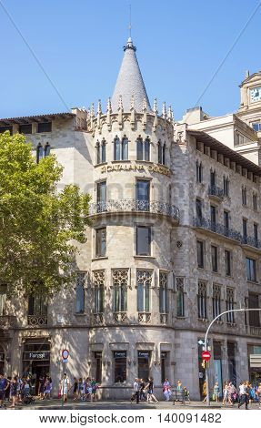 BARCELONA SPAIN - JULY 5 2016: Architecture of the Passeig de Gracia street one of the most expensive streets in Europe.