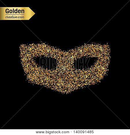 Gold glitter vector icon of mask isolated on background. Art creative concept illustration for web, glow light confetti, bright sequins, sparkle tinsel, abstract bling, shimmer dust, foil.