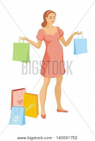 young beautiful pregnant woman in a pink dress holding colorful bags