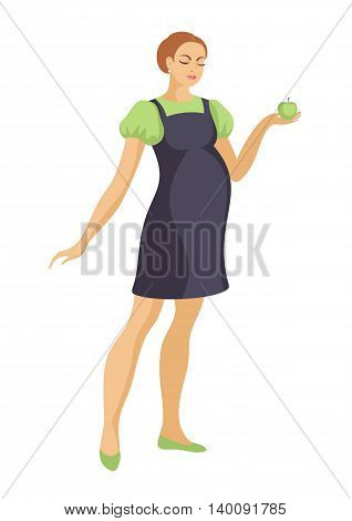 the young beautiful pregnant woman holds big green apple
