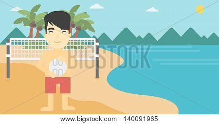 An asian young sportsman holding volleyball ball in hands. Sportive beach volleyball player standing at the shore with voleyball net. Vector flat design illustration. Horizontal layout.