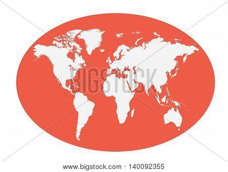 World map planet white color flat design