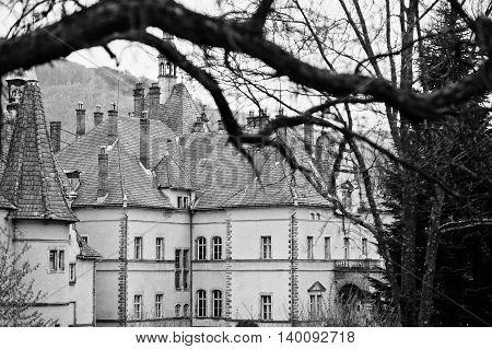 Schonborn Hunting Castle In Carpaty,transcarpathia,ukraine.  Built In 1890. Black And White Photo.