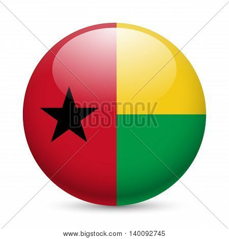 Flag of Guinea-Bissau as round glossy icon. Button with flag colors