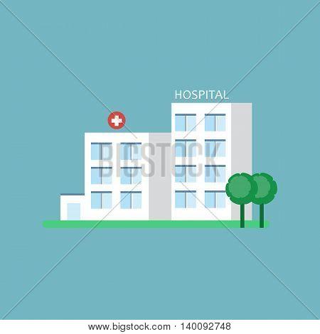 City hospital building. Medical center icon. Vector illustration flat design