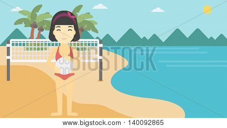 An asian young sports woman holding volleyball ball in hands. Sportive beach volleyball player standing at the shore with voleyball net. Vector flat design illustration. Horizontal layout.
