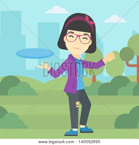 An asian sportive woman playing flying disc in the park. Young woman throwing a flying disc. Sportswoman catching flying disc outdoors. Vector flat design illustration. Square layout.