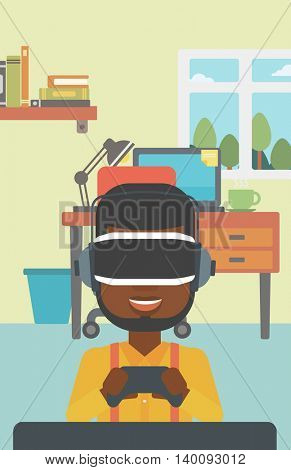 An african-american man wearing a virtual reality headset. Young man playing video game with game controller in hands. Vector flat design illustration. Vertical layout.