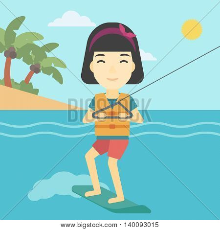 An asian sports woman wakeboarding on the sea. Wakeboarder making tricks. Woman studying wakeboarding. Young woman riding wakeboard. Vector flat design illustration. Square layout.
