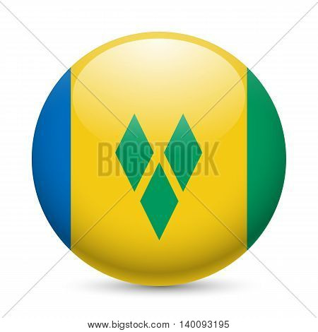 Flag of Saint Vincent and the Grenadines as round glossy icon. Button with flag colors
