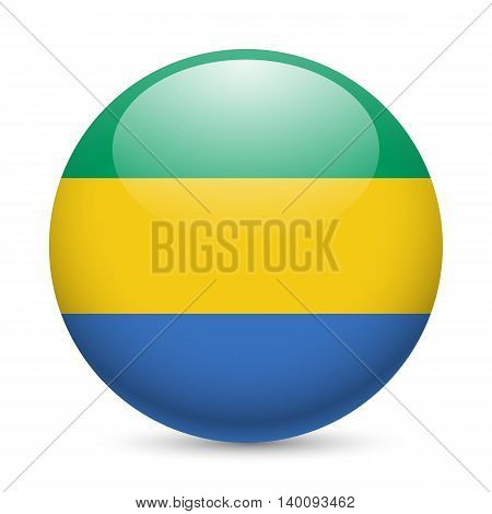 Flag of Gabon as round glossy icon. Button with Gabonese flag