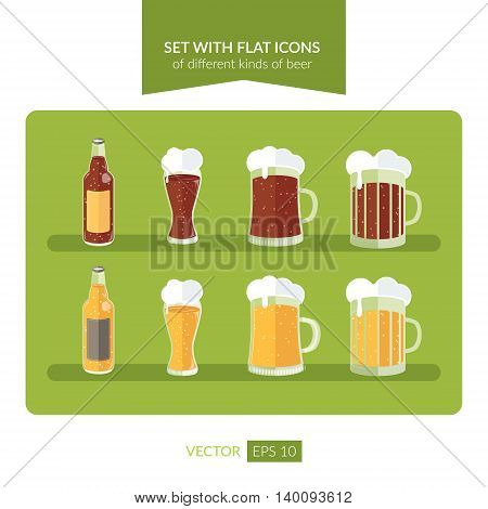 Set with flat icons of different kinds of beer. Vector illustration