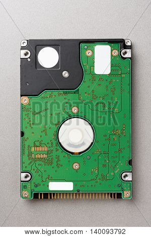 closeup circuit board of hard disk drive