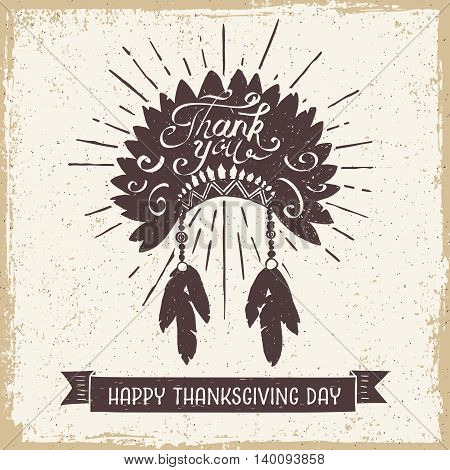 Hand drawn textured vintage Thanksgiving day card with Indian head piece vector illustration.