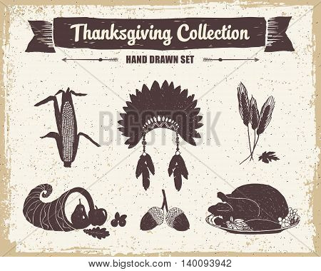 Hand drawn textured vintage Thanksgiving set of corn Indian head piece wheat cornucopia acorns and turkey meal vector illustrations.