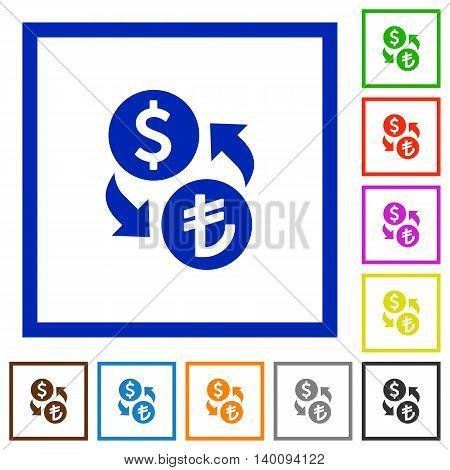 Set of color square framed Dollar Lira exchange flat icons