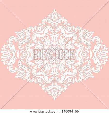 Elegant vector ornament in the style of barogue. Abstract traditional pattern with oriental elements. Pink and white pattern