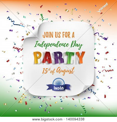 India Independence day party poster template with confetti and colorful ribbons. Vector illustration.