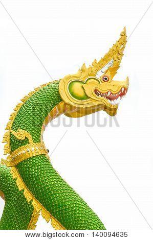 close up King of Naga statue on blue sky