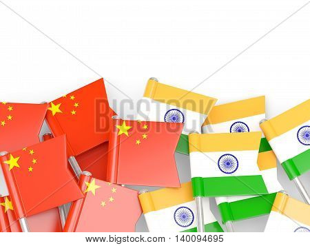 Flags Of China And India Isolated On White