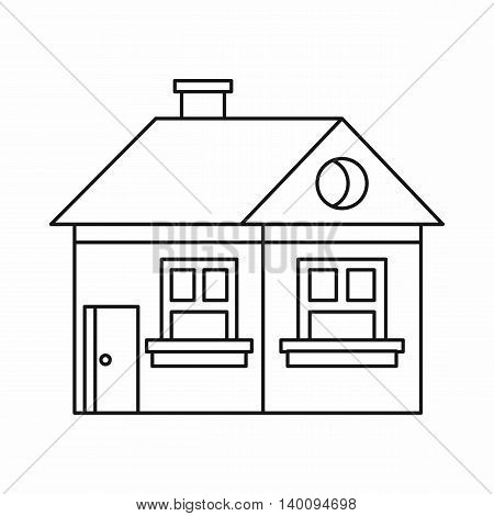 Cottage with a chimney icon in outline style on a white background
