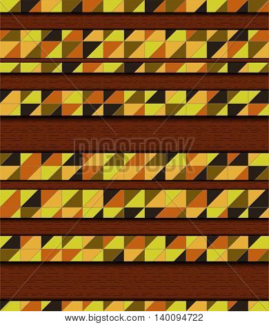 Vector illustration with mosaic and wood. Illustration 10 version